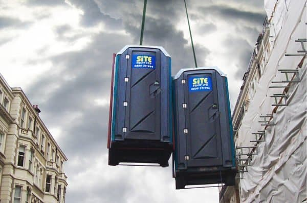 Lifting Frame With Portable Toilet Building Site