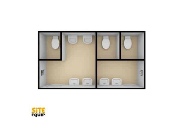 2+1 Wheeled Toilet Trailer Interior